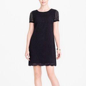 J. Crew Black Lace Scallop Trim Dress